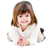 gullig flicka som isoleras little ståendewhite Arkivbilder