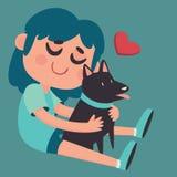Gullig flicka som kramar hennes hund Arkivfoto
