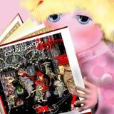 Gullig flicka som läser en bok Fotografering för Bildbyråer