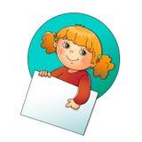 Gullig flicka som rymmer ett tecken på vit Royaltyfri Fotografi