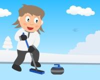 Gullig flicka som spelar att krulla på is i parkera royaltyfri illustrationer