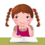 Gullig flicka som tänker, medan arbeta på hennes skolaprojekt royaltyfri illustrationer