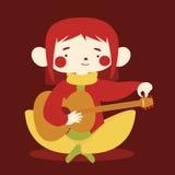 Gullig flicka som trimmar den akustiska gitarren Royaltyfria Foton