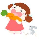 Gullig flickaförälskelse att äta grönsakillustrationen Royaltyfri Bild