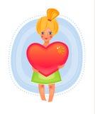 gullig flickahjärtaholding Royaltyfri Illustrationer