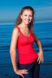 gullig flickasport för strand Royaltyfria Bilder