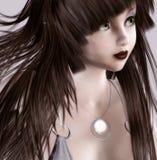gullig flickastående Arkivbild