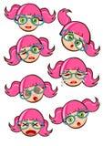 Gullig flickatecknad filmvektor royaltyfri illustrationer