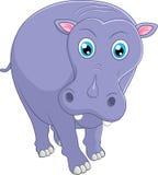 gullig flodhäst för tecknad film Stock Illustrationer