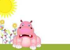 Gullig flodhäst med soluppgång Royaltyfri Foto