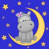 Gullig flodhäst på månen Arkivfoto