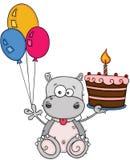 Gullig flodhäst som rymmer en födelsedagkaka och tre ballonger stock illustrationer
