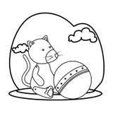Gullig flott docka med ballongstrandsymbolen vektor illustrationer