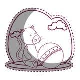Gullig flott docka med ballongstrandsymbolen royaltyfri illustrationer