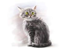 Gullig fluffig älsklings- kattunge, digital målarfärg stock illustrationer