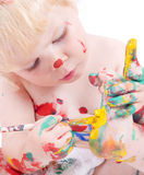 gullig fot flicka henne little målning Royaltyfri Bild