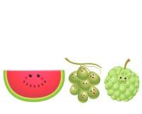 Gullig frukt-vattenmelon, druva, vaniljsåsäpple vektor illustrationer