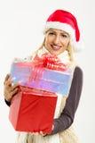 gullig gåvaflicka för jul Arkivbilder