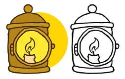 Gullig gammalmodig lykta royaltyfri illustrationer
