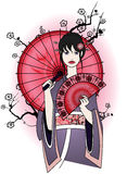 Gullig geisha i traditionell klänning Royaltyfria Foton
