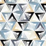 Gullig geometrisk sömlös modell Borsteslaglängder, trianglar abstrakt datalistor Ändlös textur kan användas för utskrift på fa royaltyfri illustrationer