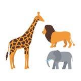 Gullig giraff-, elefant- och lejontecknad film Royaltyfri Foto