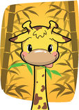 Gullig giraff för tecknad film som biter på bambusidor i bambuskog Arkivfoto
