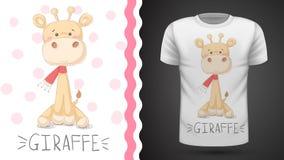 Gullig giraff - id? f?r tryckt-skjorta stock illustrationer
