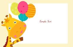 Gullig giraff och ballong Royaltyfri Fotografi