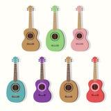 Gullig gitarrillustrationuppsättning ukulele stock illustrationer