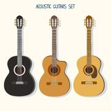 Gullig gitarrillustrationuppsättning ukulele royaltyfri illustrationer