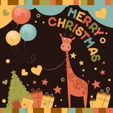 Gullig glad julkort med giraffet Royaltyfri Bild
