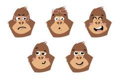 Gullig gorilla Apaframsidor, emoticons Royaltyfri Bild