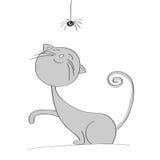 Gullig grå katt som spelar med den lilla svarta spindeln vektor illustrationer
