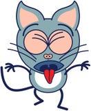 Gullig grå katt som uttrycker avsmak och att spy Royaltyfri Fotografi