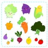 Gullig grönsakvektorpacke Arkivfoton