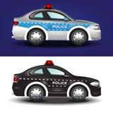 Gullig grafisk illustration av en polisbil i färger för blåa grå färger och svart Arkivfoton