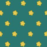 Gullig gul blomma för sömlös modell stock illustrationer