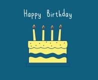 Gullig gul födelsedagkaka royaltyfri illustrationer