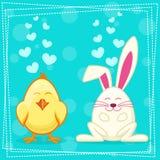 Gullig gul tecknad filmhöna och kanin Royaltyfri Bild