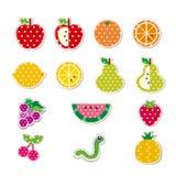 Gullig häftad frukt Vektor Illustrationer