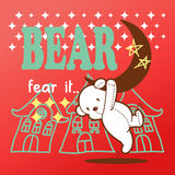Gullig hängning för nallebjörn på månen Royaltyfria Foton