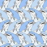 Gullig hajmodell Nautiskt sömlöst tryck Illustration för vektor för havsliv bakgrund tecknad hand Le hajbakgrund vektor illustrationer
