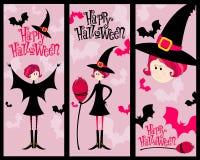 gullig halloween för baner set Arkivfoton
