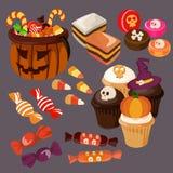 Gullig halloween godis och fester vektor illustrationer