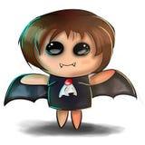 gullig halloween illustration Litet barn i spöklik vampyr, slagträ, den Dracula dräkten med vingar och huggtänder stock illustrationer