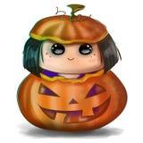 Gullig halloween illustration - trick- eller festliten flicka i ett spöklikt snidit pumpahuvud stock illustrationer