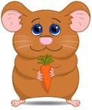 Gullig hamster med moroten Royaltyfri Foto