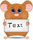 Gullig hamster med skylten Arkivfoton