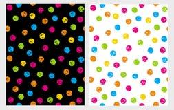 Gullig hand dragen abstrakt borsteIrregular Dots Vector Pattern Set Färgrika Grungeprickar stock illustrationer
